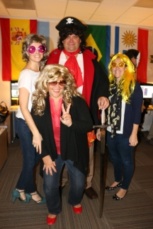 The scary pirate with the disco divas.