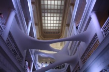 """On permanent display in the atrium is the site-specific installation """"Elastika,"""" created by Iraqi-born London-based architect, Zaha Hadid."""