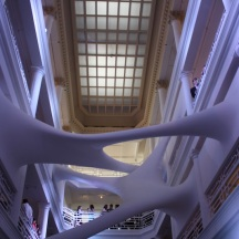 "On permanent display in the atrium is the site-specific installation ""Elastika,"" created by Iraqi-born London-based architect, Zaha Hadid."